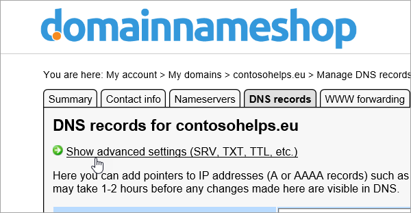 Показване на разширените настройки за DNS записите в Domainnameshop