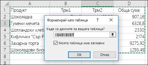 """Пример за използването на опцията """"Форматиране като таблица"""" в раздела """"Начало"""" за автоматично избиране на диапазон от данни"""