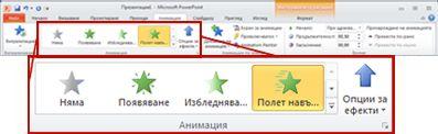 Разделът ''Анимации'' в лентата на PowerPoint 2010