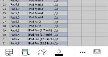 Избрани клетки на работен лист и наличните команди в долната част на екрана