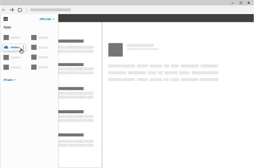 Прозорец на браузъра с осветена икона за стартиране на приложения на Office 365, а приложението OneDrive е маркирано