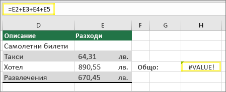 Клетка H4 с формула =E2+E3+E4+E5 и резултат #VALUE!