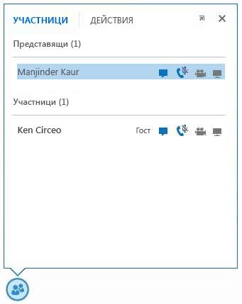 екранна снимка на иконите до името на участника, указващи наличността на незабавни съобщения, аудио, видео и възможности за споделяне