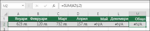 Пример на #N/A, въведено в клетки и пречещо на  правилното изчисляване, на формула SUM.