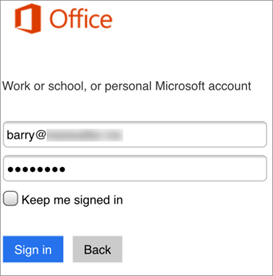 Въведете вашия Skype за бизнеса име и парола.