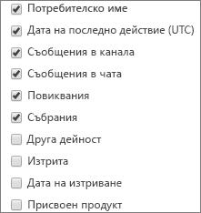 Отчет за дейността на потребителите в Teams – избиране на колони