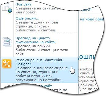 SharePoint Designer 2010 в менюто ''Действия за сайта''