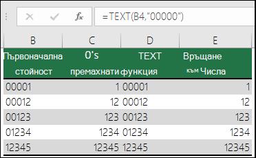 """Примери за използване на функцията TEXT за форматиране на водещите нули. =TEXT(A2;""""00000"""")"""