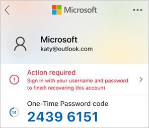 Екранна снимка, която показва Microsoft Authenticator на паролата за един път.