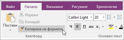 """Екранна снимка на бутона """"Копиране на формати"""" в OneNote 2016."""
