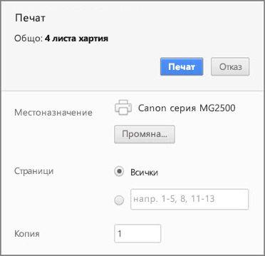 Опции в панела за печат на Chrome