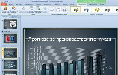 """Разделът """"Инструменти за диаграма"""" се показва, когато щракнете върху диаграма."""