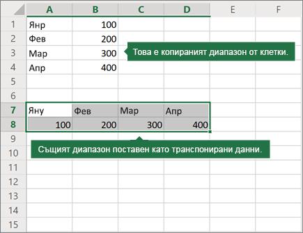 Пример за поставяне транспониране