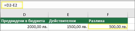 Клетка D2 с $2000,00, клетка E2 с $1500,00, клетка F2 с формула: =D2-E2 и резултат $500,00