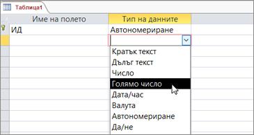 """Списък на типове данни с осветена опция """"Голямо число"""""""