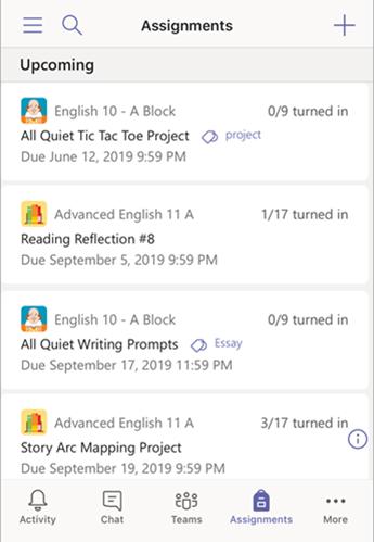 Списък с възложени задачи в Mobile