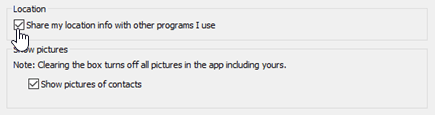 "Опции за местоположение в Skype за бизнеса лични меню ""Опции""."