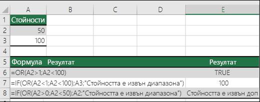 Примери за използване на функцията OR с функцията IF.