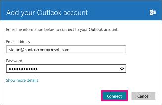 """""""Поща"""" на Windows 8: страницата """"Добавяне на вашия акаунт в Outlook"""""""