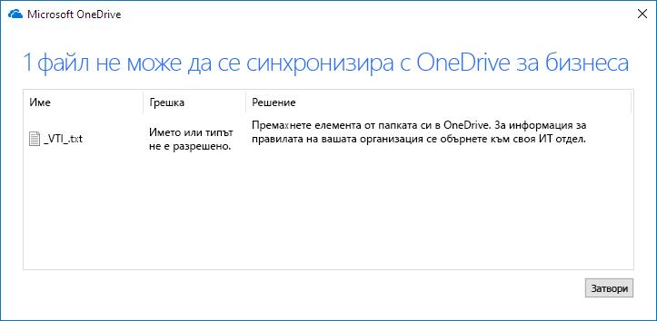 Файл на OneDrive не може да бъде синхронизиран
