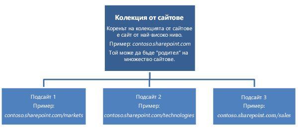 йерархична диаграма на колекция от сайтове, показваща сайт на най-високо ниво и подсайтове.