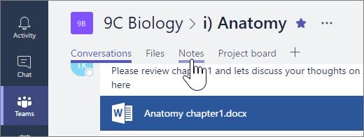 """От който и да е канал с изключение на общия, изберете """"Бележки"""", за да отворите бележника на класа"""