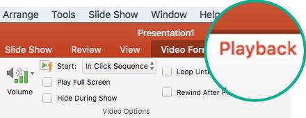 """Когато е избрано видео в слайд, се показва разделът """"Възпроизвеждане"""" на лентата с инструменти, който ви позволява да зададете опции за възпроизвеждане на видео."""