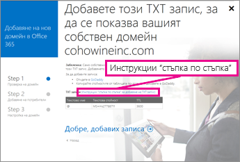 """В Office 365 щракнете върху """"Подробни инструкции"""" за повече информация за добавяне на TXT записи"""