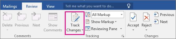 """В раздела """"Преглед"""" е осветена опцията """"Проследяване на промени""""."""