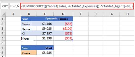 Пример за функцията SUMPRODUCT, за да върне общо продажби чрез търговски представител, когато се предоставя с продажби и разходи за всеки от тях.