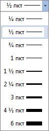 Размер на границата на таблица