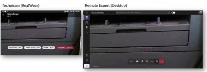 Изгледът техникът и дистанционната вещ виждат с RealWear в Microsoft Teams