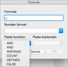 In the Formula box, select the function from the Paste function list