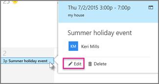 Редактиране на събитие в календара