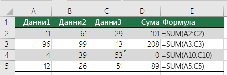 Excel показва съобщение за грешка, когато дадена формула не съответства на схемата на съседните формули