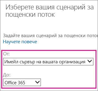 Изберете от вашата организация имейл сървър към Office 365