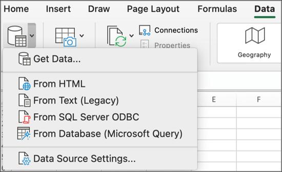 Основният бутон и менюто за получаване на данни