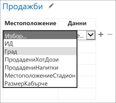 Избор на данните, които да се покажат от приложението за Office в приложението на Access