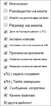 StaffHub на отчета за дейността на екипа – изберете колони.