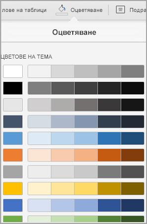Опции за оцветяване на таблица на iPad