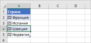 Клетка със свързан запис, избрана в таблица