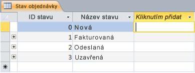 Záhlaví Kliknutím přidat v zobrazení Datový list