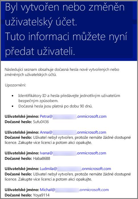 Ukázkový e-mail s přihlašovacími údaji uživatele