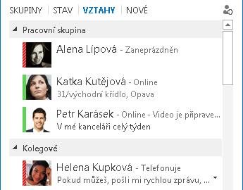 Snímek obrazovky s uspořádáním kontaktů podle vztahu