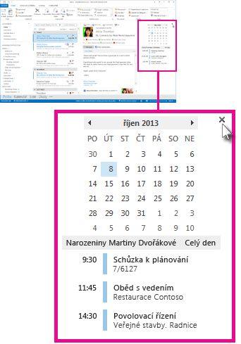 Příkaz pro odebrání náhledu na připnutém náhledu kalendáře