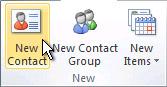 Příkaz Nový kontakt na pásu karet