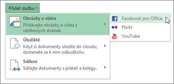 Přidání služby, jako je třeba Flickr nebo Facebook pro Office