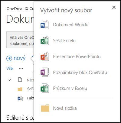 Možnosti Office Online, které můžete použít u tlačítka Nový na OneDrivu pro firmy