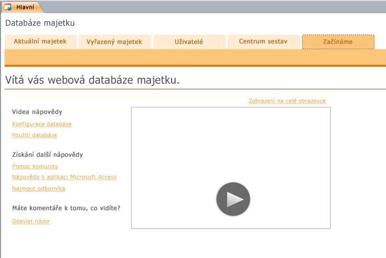 Webová databáze majetku
