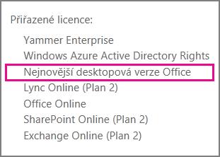 Nejnovější desktopová verze Office